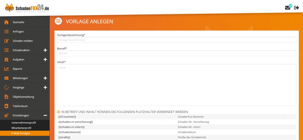 Screenshot SchadenFux24 E-Mail Vorlagen