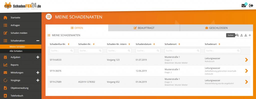 Screenshot SchadenFux24 Suchfunktion Filterfunktion
