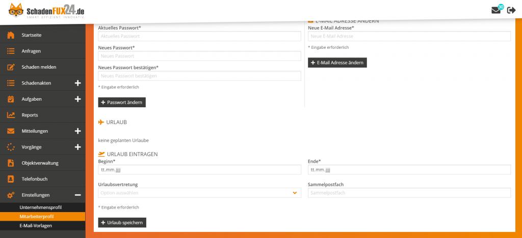 Screenshot SchadenFux24 Urlaubsvertretung