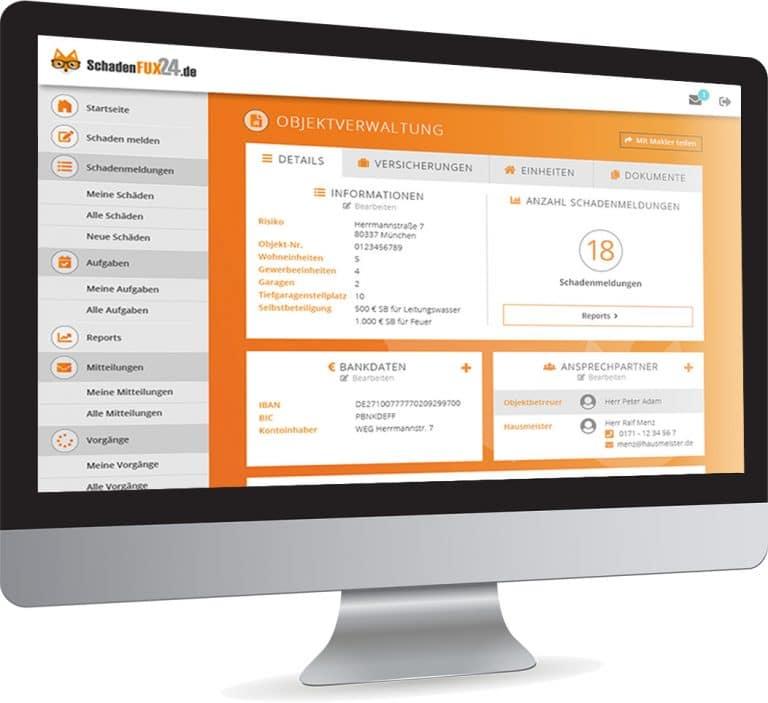Mock-Up Desktop Ansicht Objektverwaltung